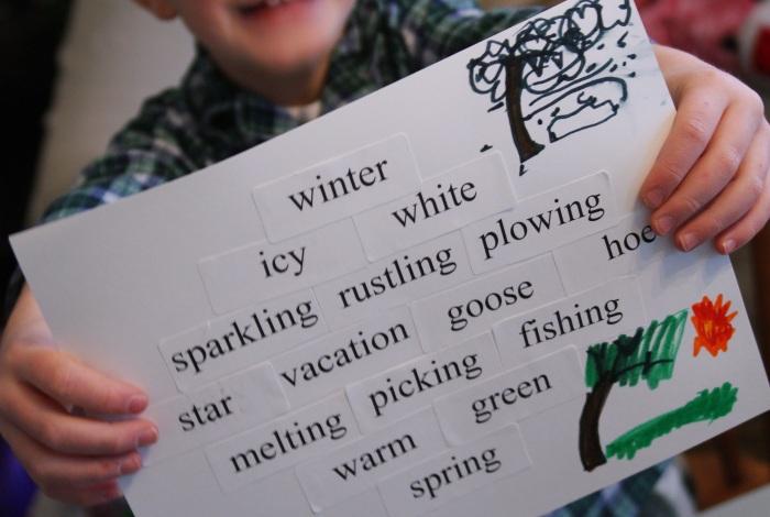Joel nature seasons diamante poem, winter vs spring